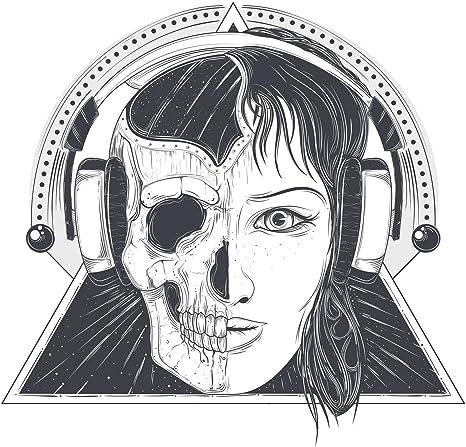 Amazoncom Half Skull Half Woman With Headphones Geometric Icon