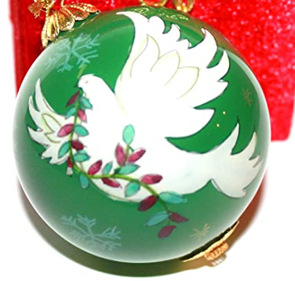 pier 1 imports li bien 2013 green glass collectible peace dove christmas ornament