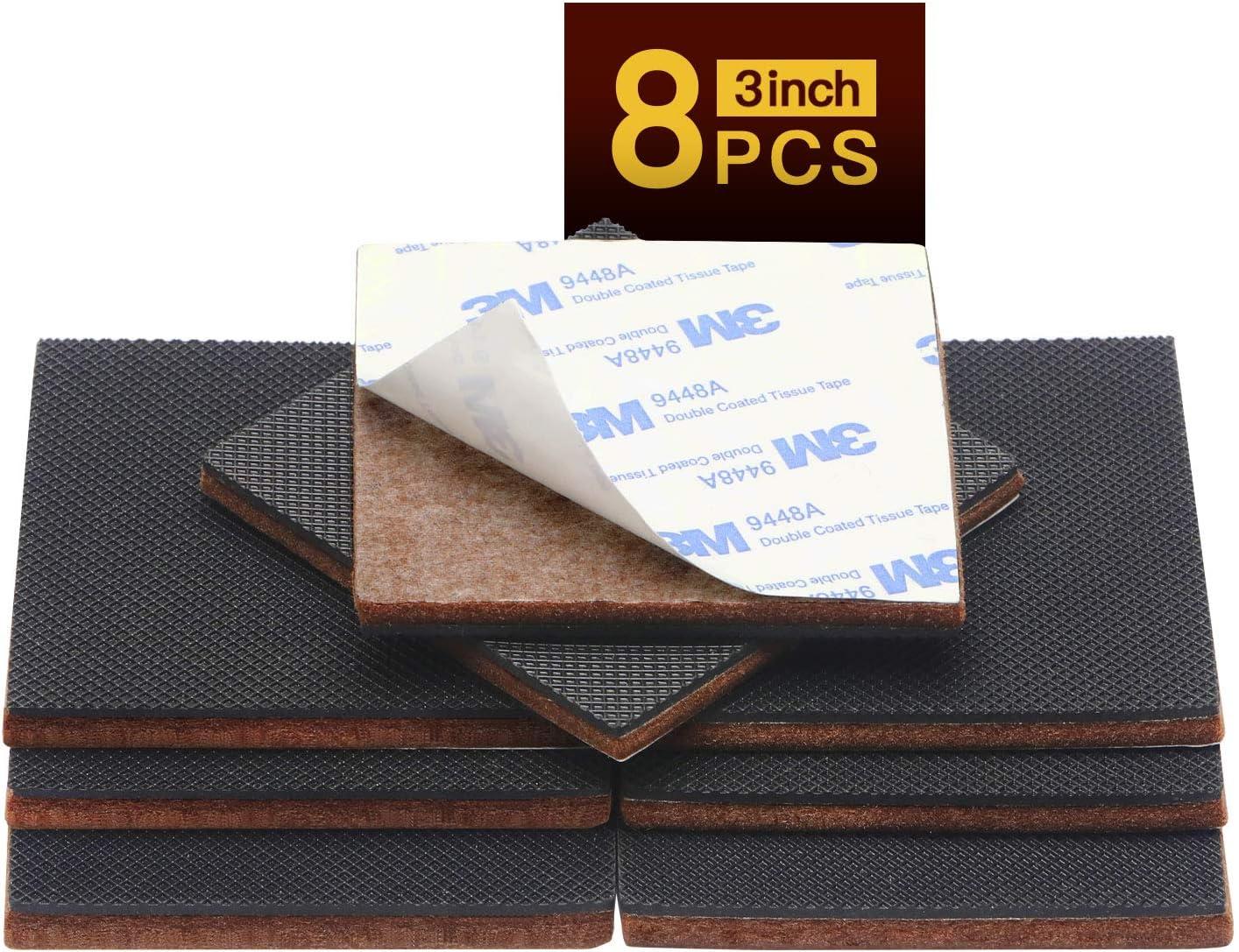 Non Slip Furniture Pads 8pcs 3inch HN STG Premium Furniture Gripper! SelfAdhesive Square Rubber Pad!Hardwood Floor Protector Sofa Anti Slip Furniture Bed