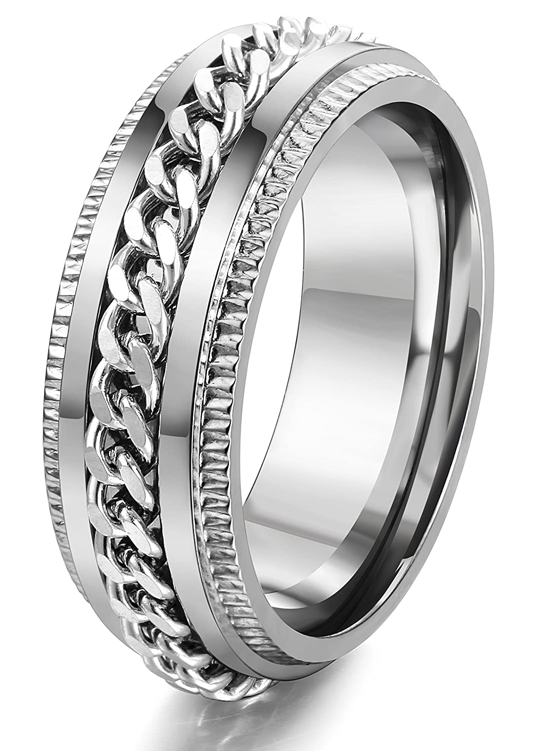 FIBO STEEL Stainless Steel 8mm Rings for Men Chain Rings Biker Grooved Edge, Size 7-14 2MR003