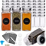 Hatoku 48 Pcs Glass Spice Jars, 4oz Empty Square Spice Bottles with 400 Spice Labels, Spice Containers with Shaker Lids, Airt