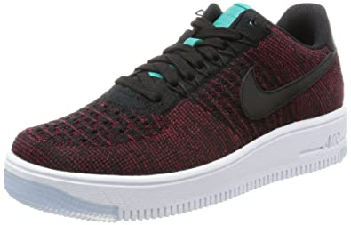 f0e045fb826a Nike Womens AF1 Flyknit Low Black Black Team Red Clr Jade Casual Shoe (6