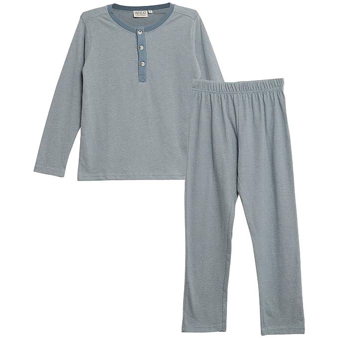 Wheat Boy Pajamas Rib LS, Conjuntos de Pijama Nios, Blau (Dusty Blue 1217