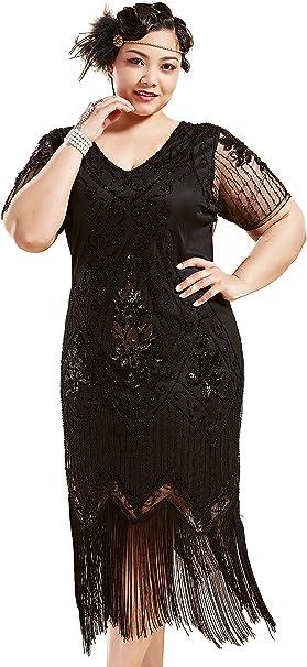 BABEYOND Plus Size 1920s Art Deco Fringed Sequin Dress Flapper Gatsby  Costume Dress for Women