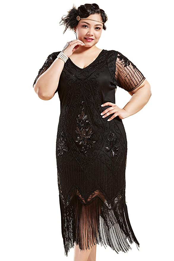 1920s Plus Size Flapper Dresses, Gatsby Dresses, Flapper Costumes BABEYOND Plus Size 1920s Art Deco Fringed Sequin Dress Flapper Gatsby Costume Dress for Women  AT vintagedancer.com