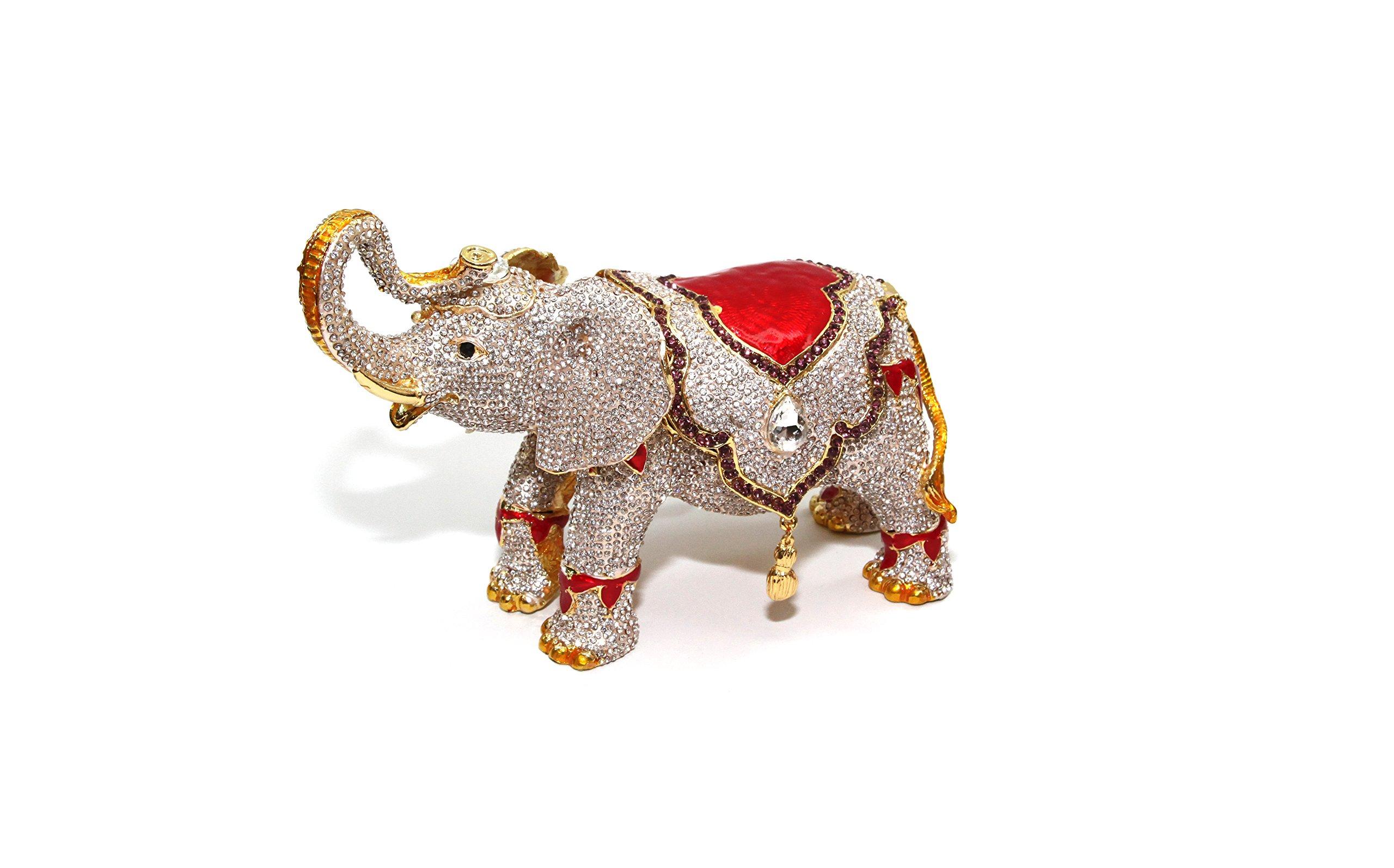 Gold & White Elephant 8-inch Enameled Figurine, 24K Gold Trinket Jewelry Box with Swarovski Crystal, Hand-made (Big Elephant)