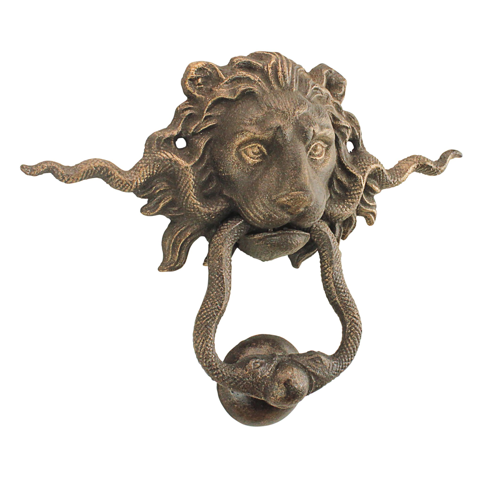 Design Toscano SP3015 Lion and The Snake Cast Iron Foundry French Royalty Decorative Door Knocker, Gold
