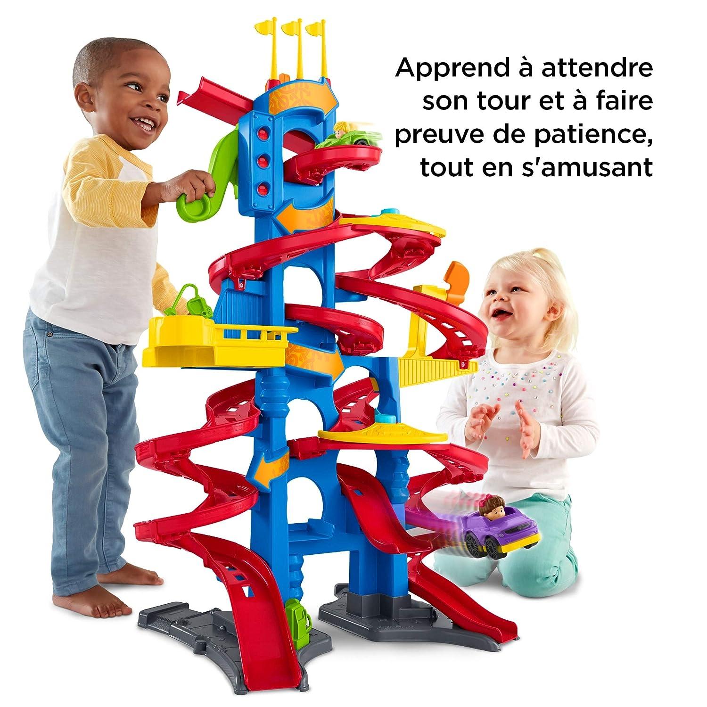Fisher-Price Little People Tour des Spirales jouet enfant, version française, circuit avec 2 zones de chargement et 3 pistes, 2 voitures incluses, 12 mois et plus, FXK58