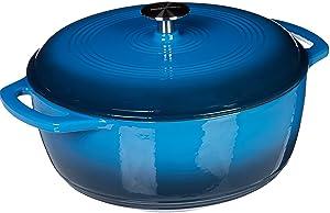 AmazonBasics Enameled Cast Iron Dutch Oven - 7.5-Quart, Blue