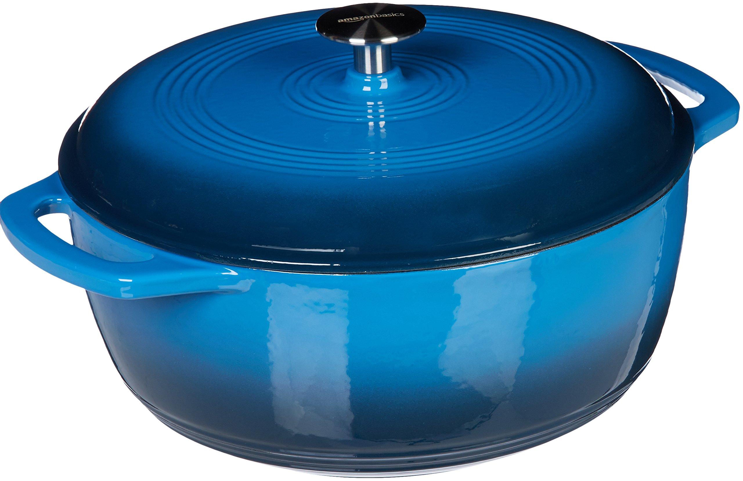 AmazonBasics Enameled Cast Iron Covered Dutch Oven, 7.5-Quart, Blue