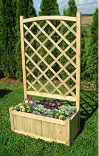 Wooden Garden Double Flower Planter With Trellis For Climbing Plant Support  (Single Planter   80cm