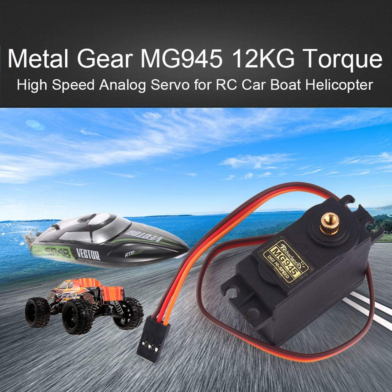 Color:Black Rcharlance MG945 12kg Metal RC Steering Servo for RC Car Truck Boat Airplane