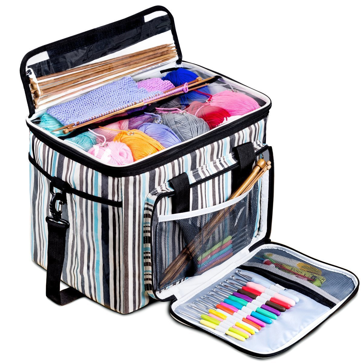 BONTIME Premium Yarn Storage Bag - Portable & Water-Resistant Knitting Bag for Ultimate Organization,Pockets for Crochet Hooks and Needles and Slits on Top to Protect Yarn,Lucky Clover Print CTHE2019