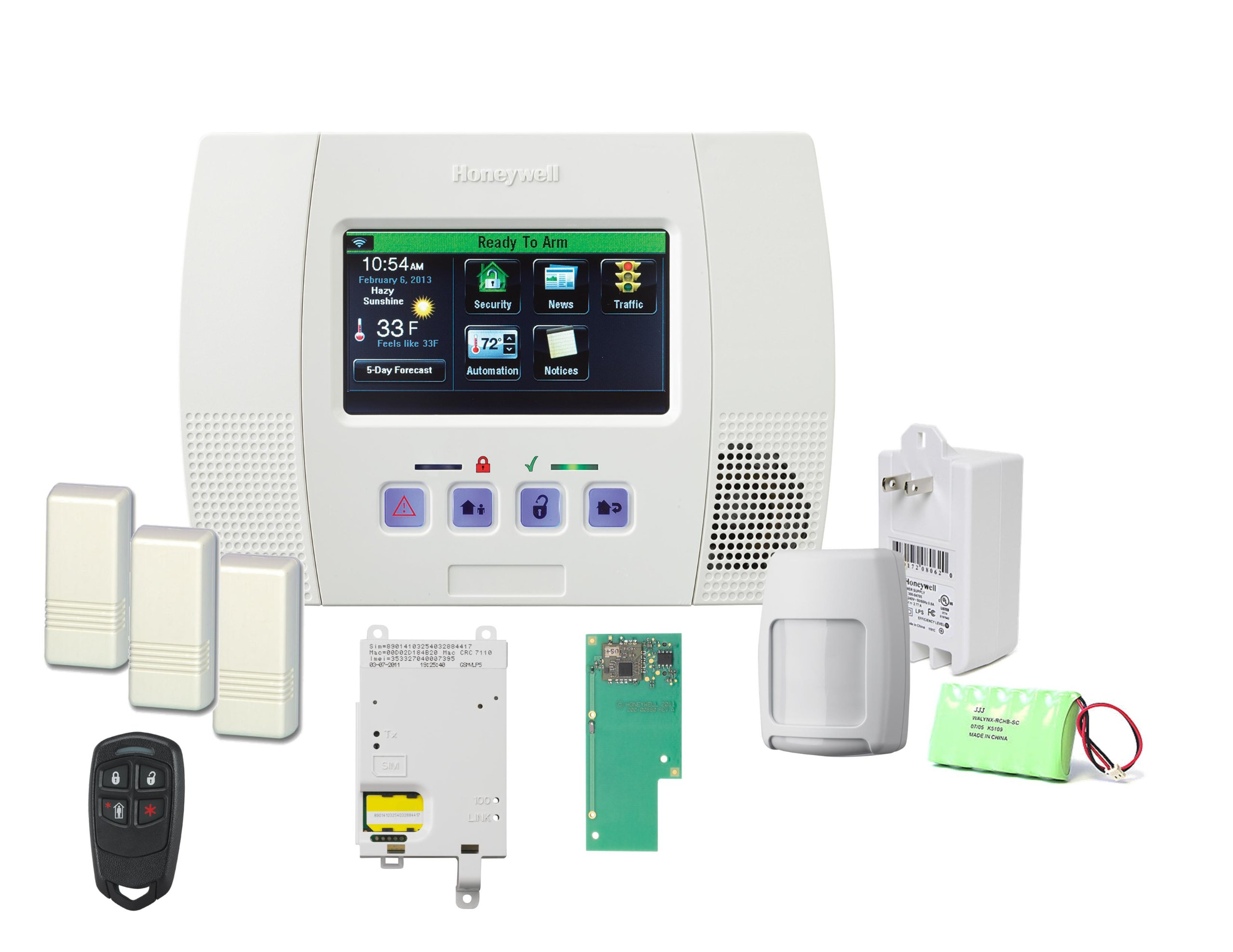 Honeywell Lynx Touch 5100 Wireless Alarm GSMVLP5-4G and Zwave Home Automation Starter Kit
