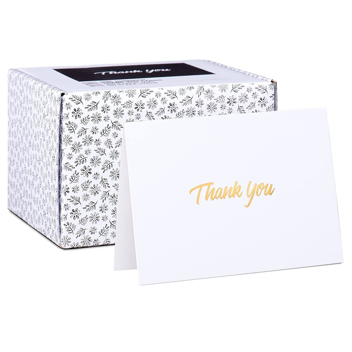 Amazon.com : 100 Thank You Cards - White Bulk Note Cards with Gold ...