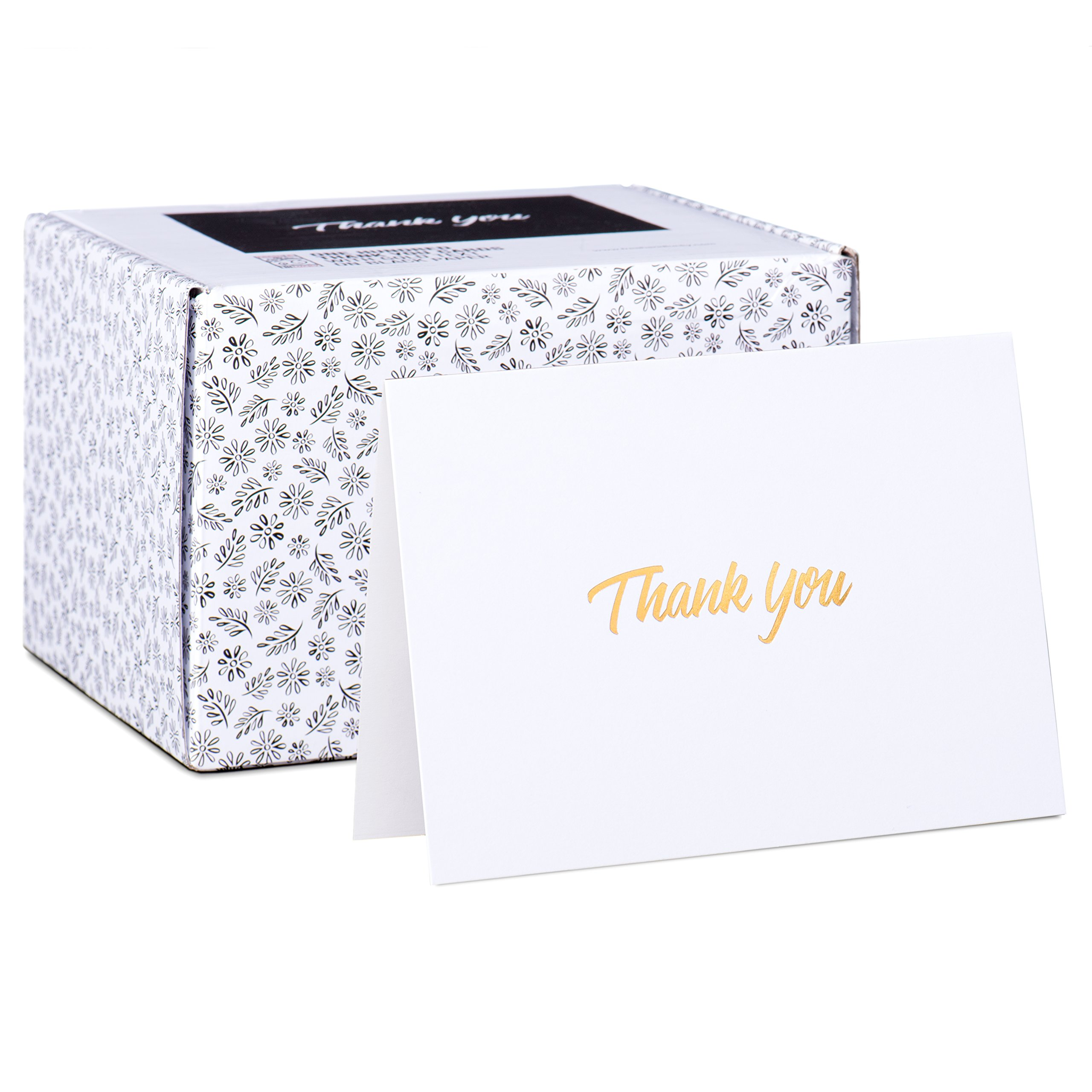 100 Thank You Cards - White Bulk Note Cards with Gold Foil Embossed Letters - Perfect for Your Wedding, Baby Shower, Business, Graduation, Bridal Shower, Birthday, Engagement