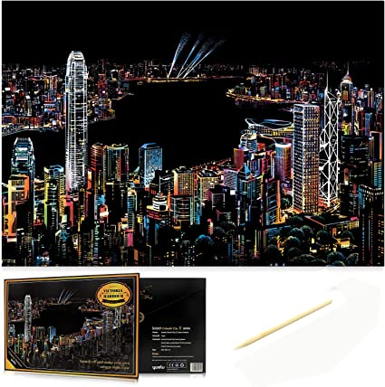 C-pop Scratch Art Scratch Paper DIY Night View Scratchboard for Adult and Kids,Night View Series Size 11.2/'/'x16/'/' London