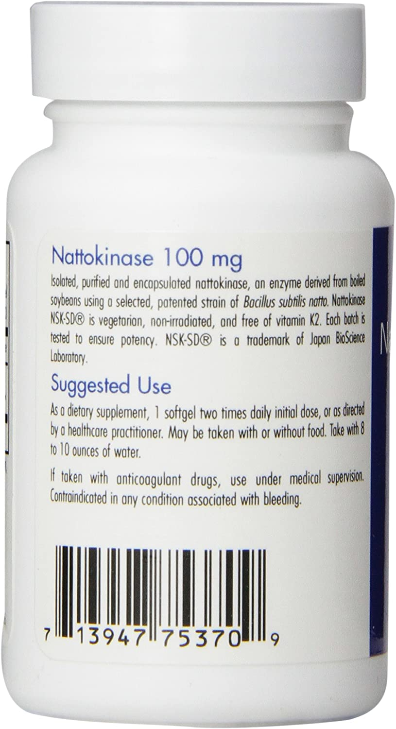 Nattokinase 100 Mg Super Extra Strength – NSK-SD – 2000 FU – 60 Softgels – Allergy Research Group