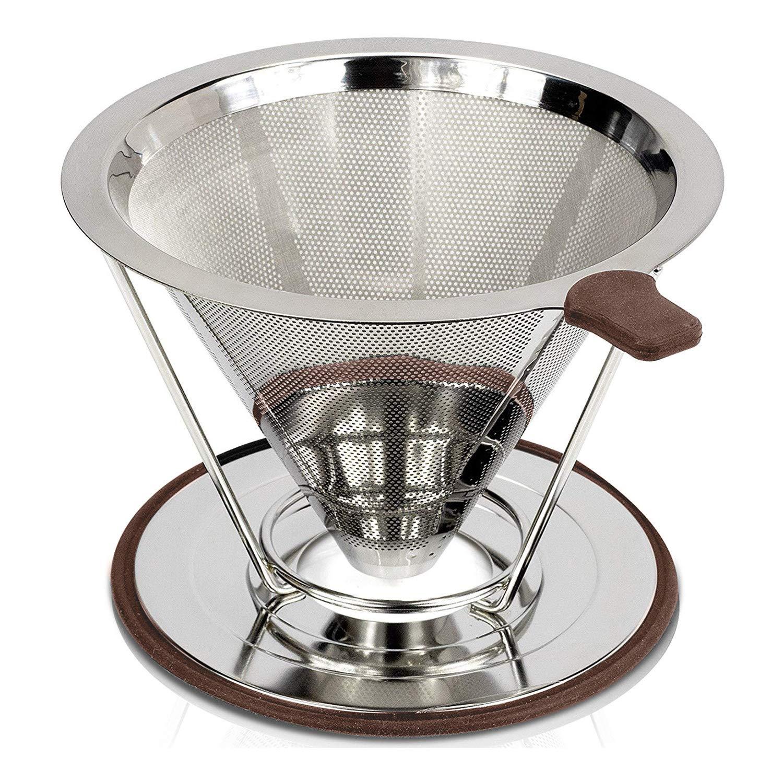 Savorlive Kaffeefilter aus Edelstahl, wiederverwendbar, mit abnehmbarem Becherhalter, doppelschichtiger feiner Netzfilter