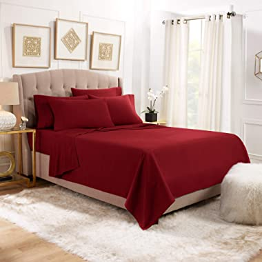Empyrean Stronger Bed Sheet Set – Holds Longer 110 GSM Heavyweight - Luxury Soft Double Brushed Microfiber – 6 Piece Sheets with 4 Pillowcases – Tight Fit Straps Fitted Sheet – King, Burgundy Red