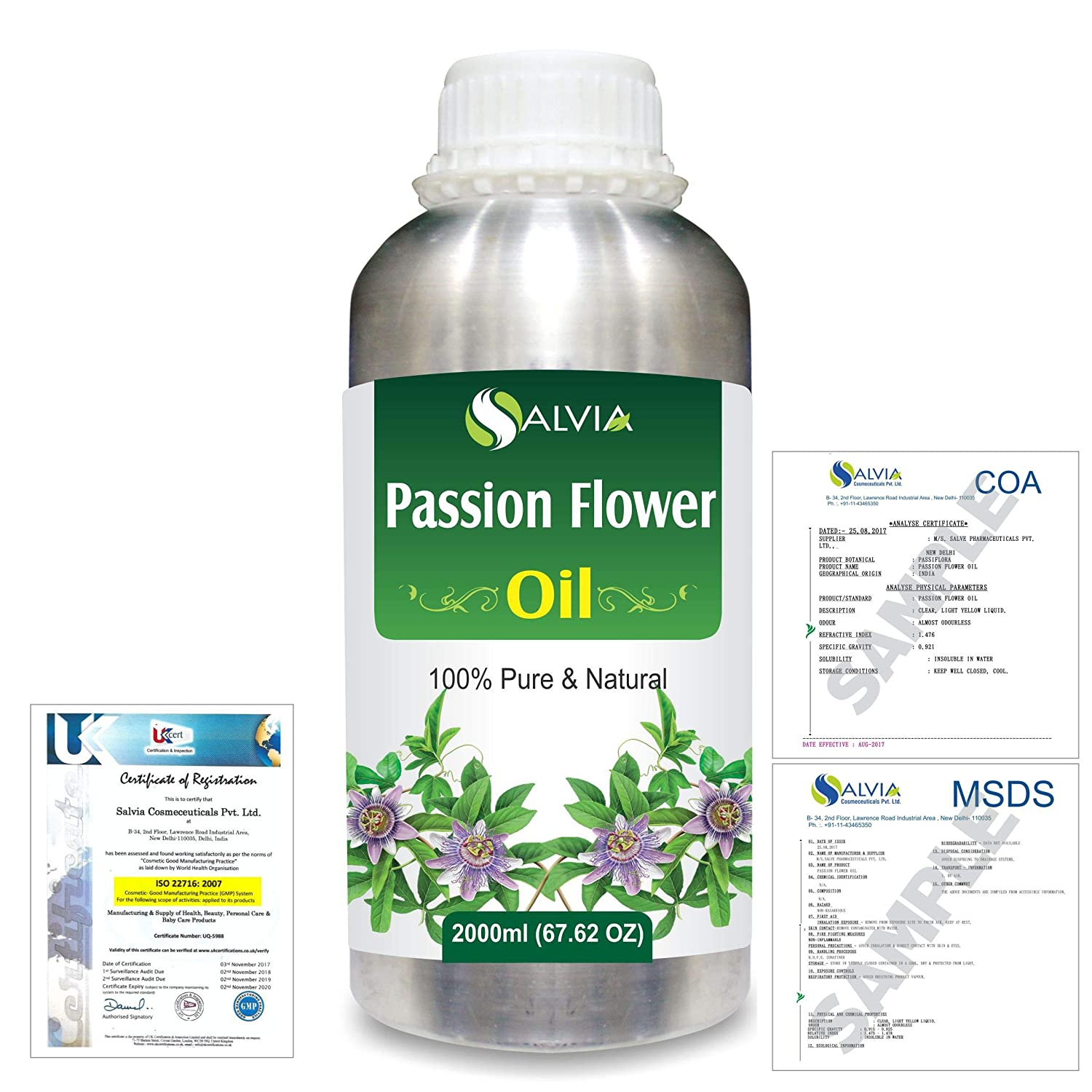 Passion Flower (Passiflora) Natural Pure Undiluted Uncut Carrier Oil 2000ml/67 fl.oz. B07R4TD41J