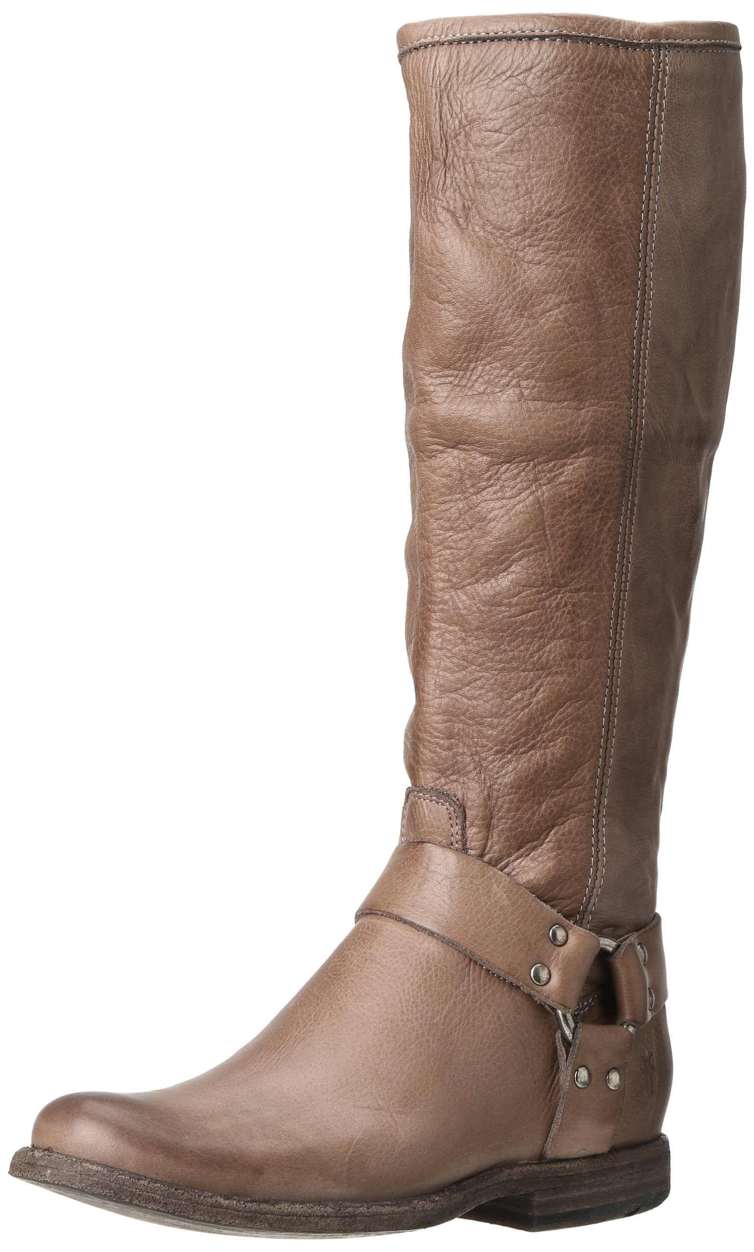 FRYE Women's Phillip Harness Tall Boot, Grey Soft Vintage Leather, 7 M US