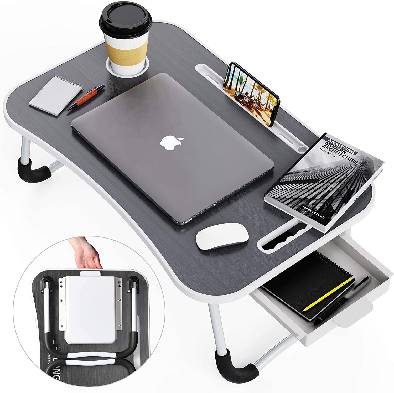 Lap Desk, Foldable Desk Bed Tray, Standing Desk, Laptop Desk, TV Tray Tables for Eating, Bed Table, Bed Desk, Breakfast Tray, Laptop Stand for Bed and Couch, Portable Desk for Dinner, Reading, (Gray)