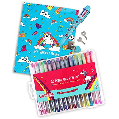 GirlZone Bundle: Unicorn Secret Lockable Kids Journals for Girls & Pen Set with 30 Colored Gel Pens in Carry Case - Great Birthday Gifts for Girls: Toys & Games