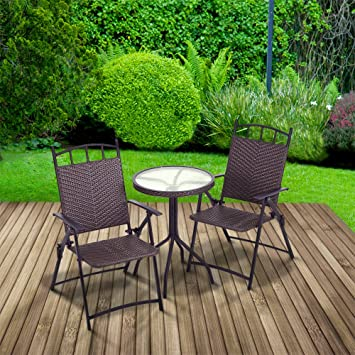 Trueshopping Bistro Patio Set Deauville Round Glass Top Table With Two Very  Comfortable Folding Armchairs Indoor
