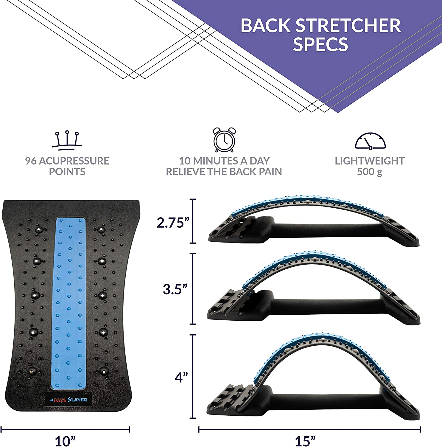 PAINSLAYER Back Stretcher for Lower Back Pain Relief and Mobile Phone Massager Two Devices in One Pack