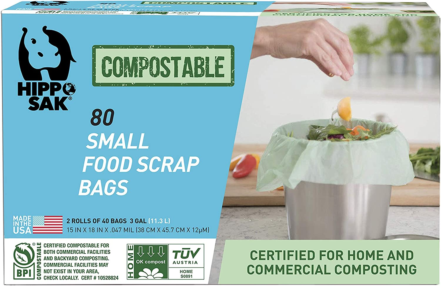 Hippo Sak Compostable Small Food Scrap Bags, 80 Count