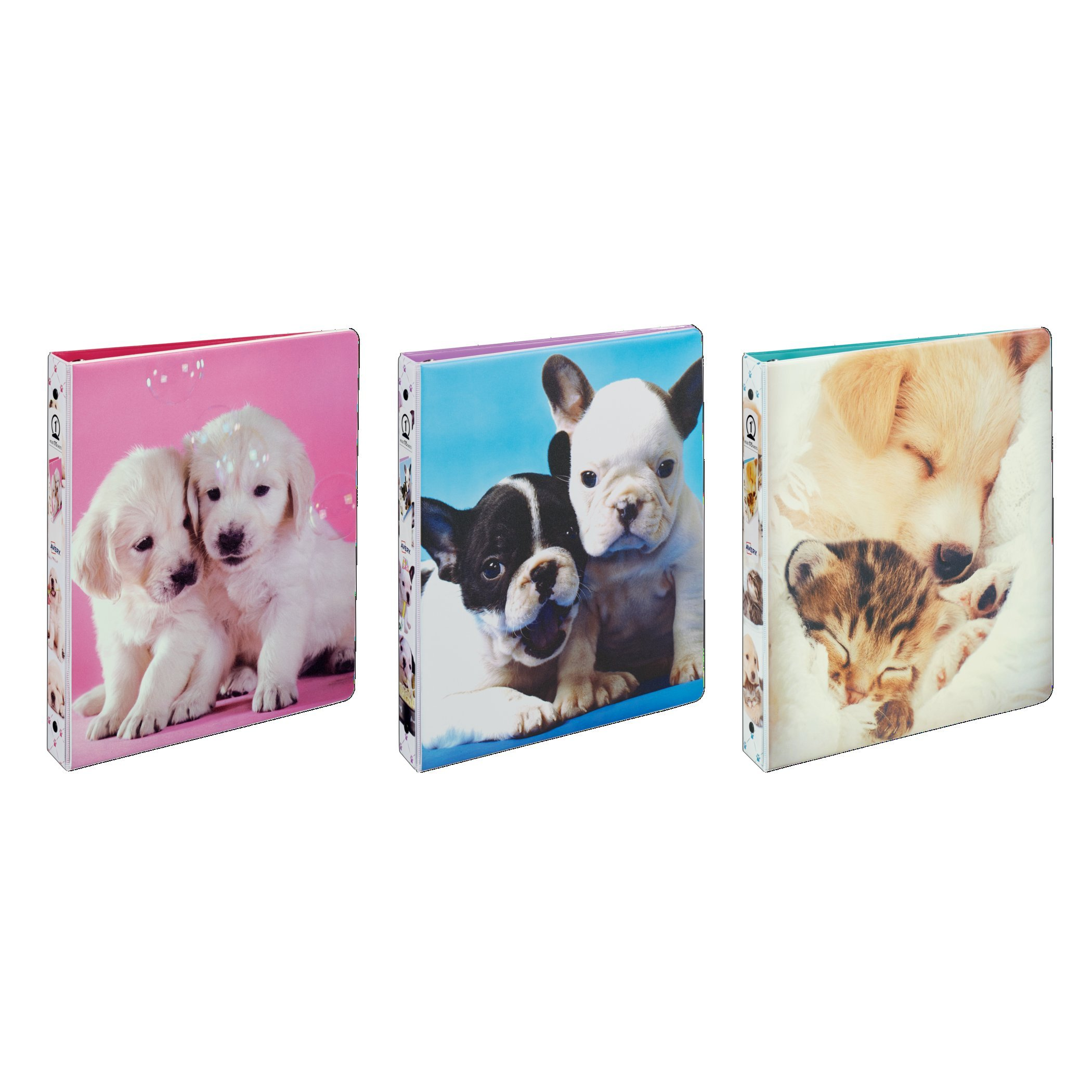Avery Puppy Binder with 1'' Round Ring, 175-Sheet Capacity, Design Will Vary, 1 Binder (3240)