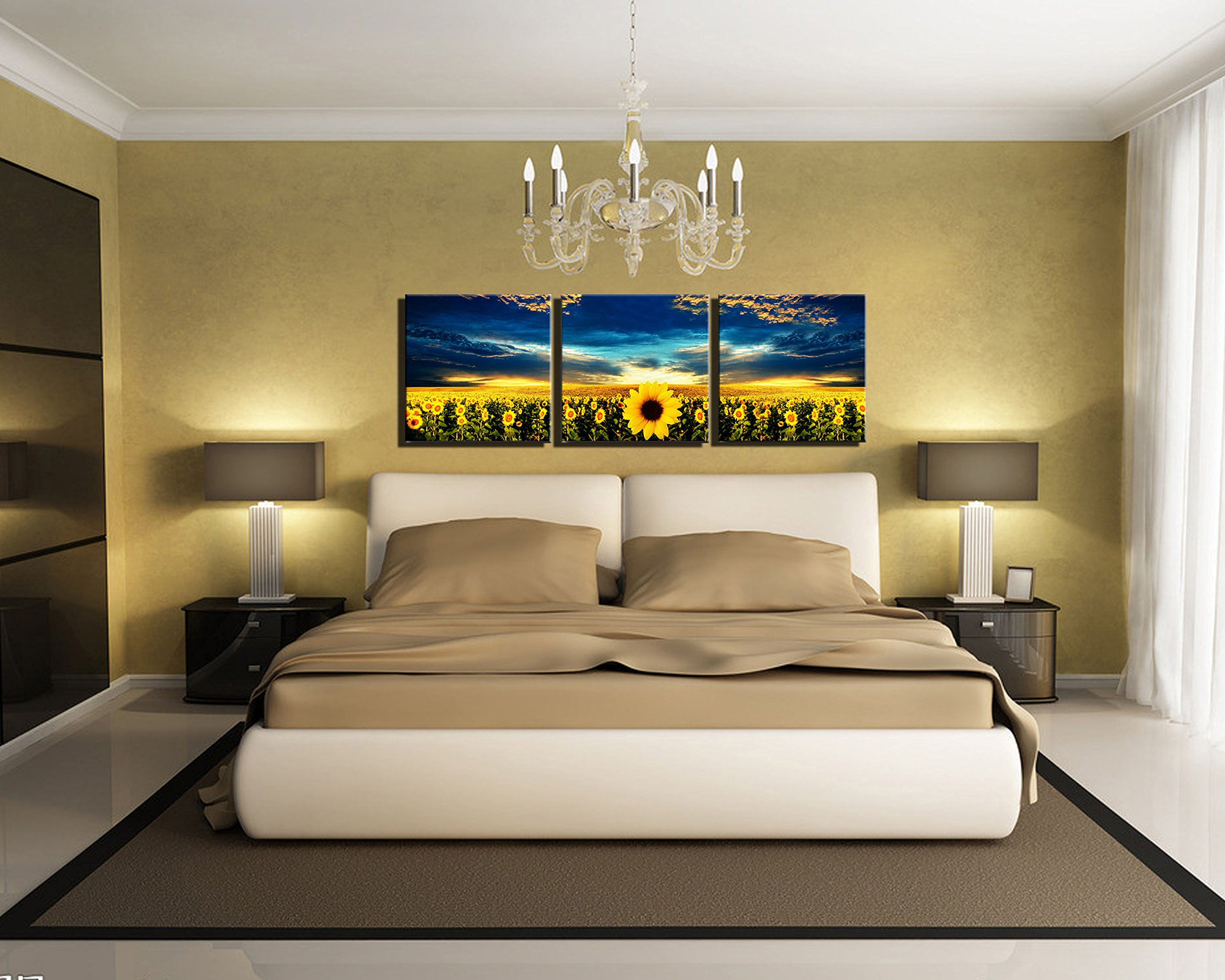 3 Panel Wall Art on Canvas Sunflower Painting for Décor No Frame