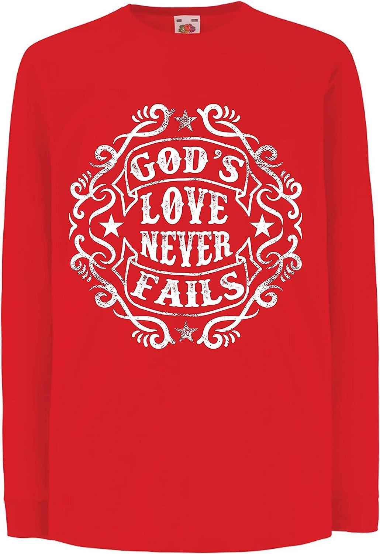 lepni.me Camiseta para Niños Jesús te Ama El Amor de Dios Nunca Falla Regalo Cristiano