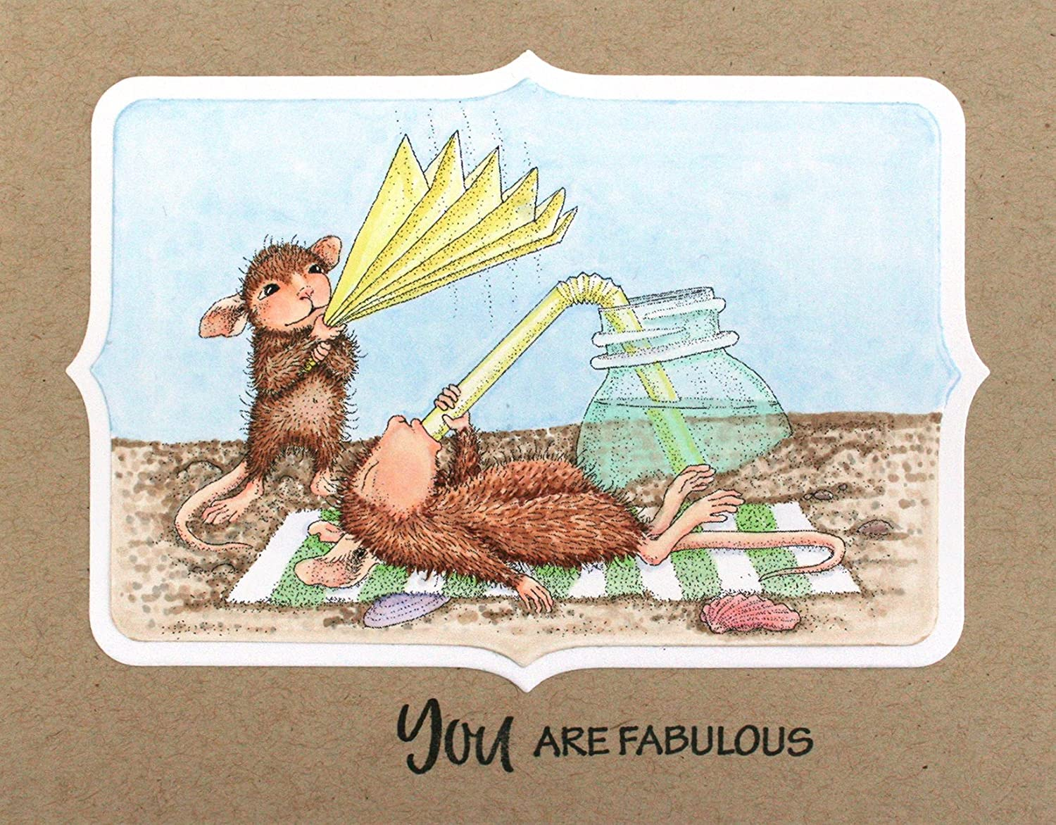 STAMPENDOUS House Mouse Cling Rubber Stamp Keeping Cool