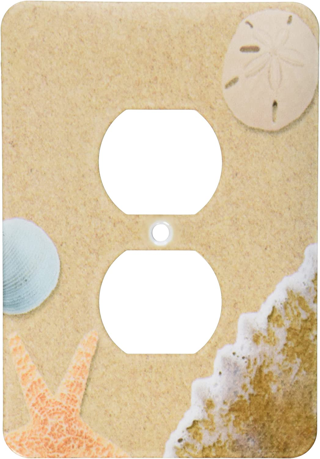 3dRose lsp_172139_6 Sandy Beach with Shells - 2 Plug Outlet Cover