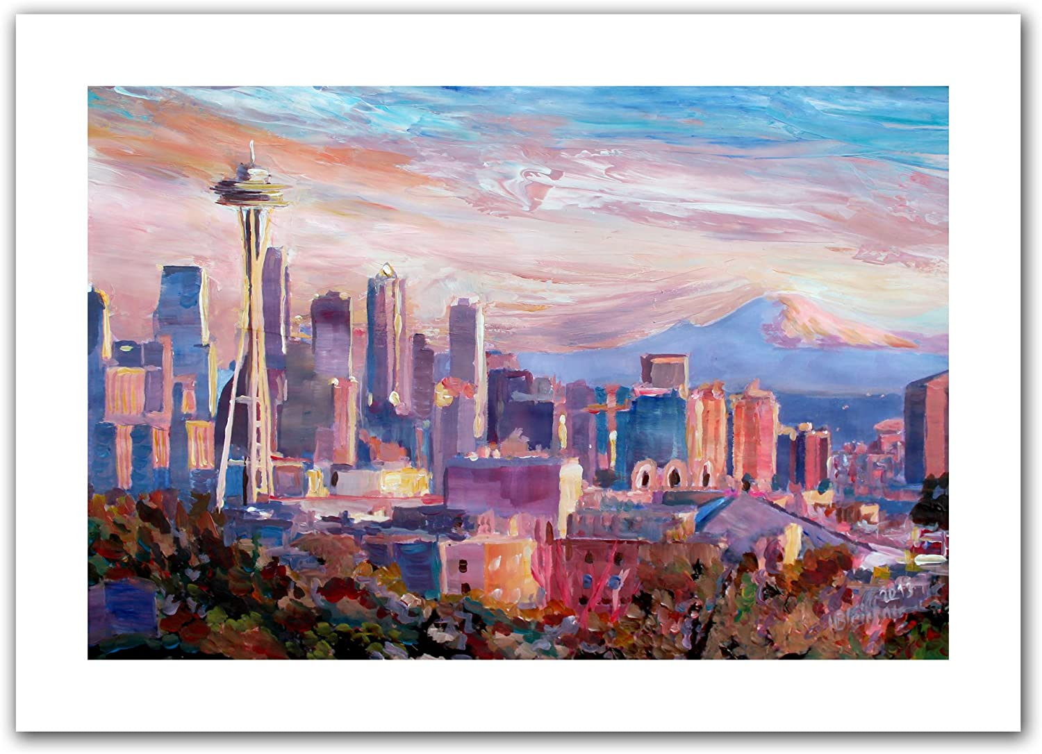 Art Wall Seattle Skyline With Space Needle Unwrapped Canvas Artwork By Markus Bleichner 16 By 22 Inch Oil Paintings Posters Prints