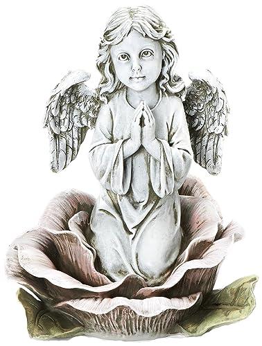 Roman Josephs Studio Religious Praying AngelKneeling in Pink Rose Outdoor Garden Statue, 11-Inch