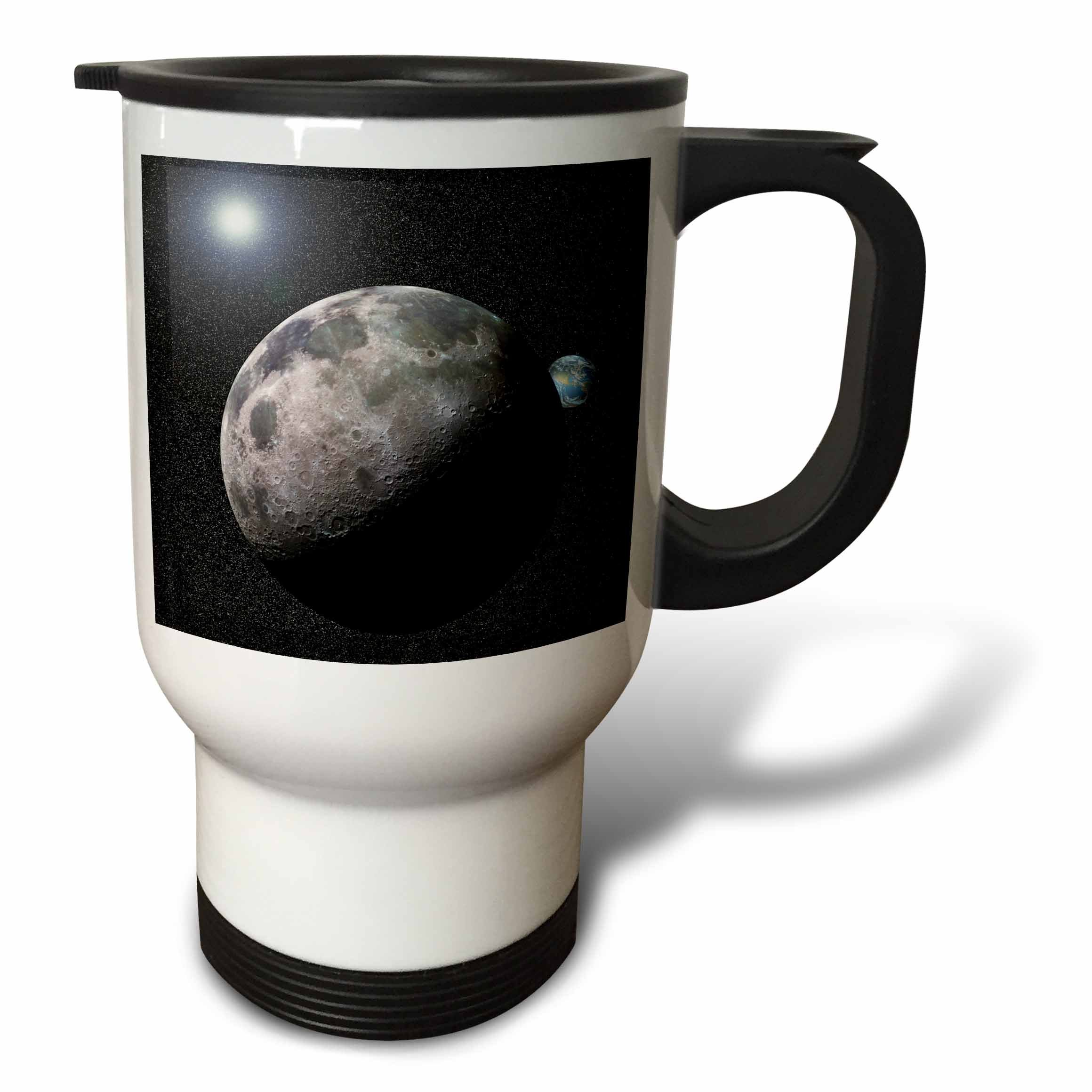 3dRose tm_19949_1 Moon Dance Solar System Scene of Planet Earth and Moon Dancing in Space Orbit Travel Mug, 14-Ounce, Stainless Steel