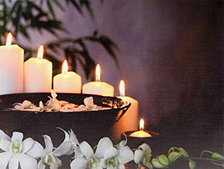 feng shui lighting. Relaxing Feng Shui Light Up LED Canvas Picture Frame Flickering Candle White Orchid Scene 40cm X Lighting