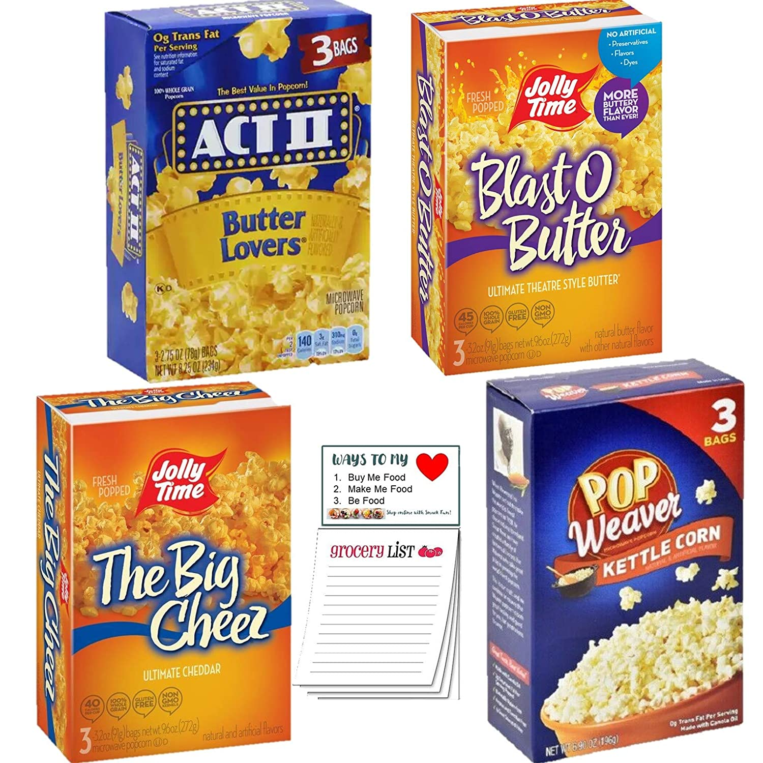 Microwave Popcorn Variety Pack of 4 | Jolly Time Blast O Butter | The Big Cheez | Pop Weaver Kettle Corn | Act II Butter Lovers | Snack Fun Shopping Pad