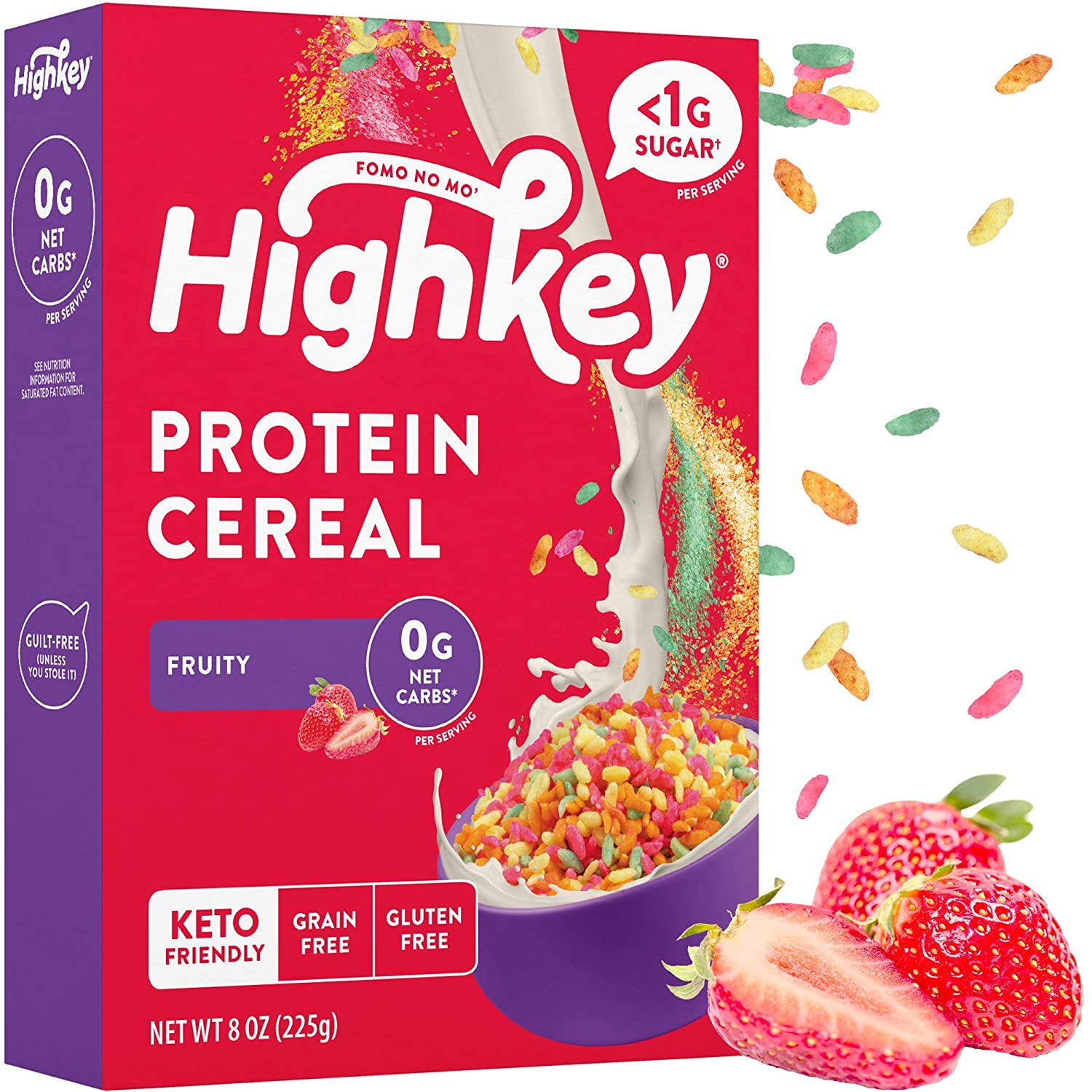 HighKey Protein Snacks - Keto Breakfast Cereal - 0 Net Carb & Zero Sugar, Gluten & Grain Free Cereals Snack Food - Paleo, Diabetic, Ketogenic Diet Friendly Muesli - Healthy Grocery Foods - Fruity