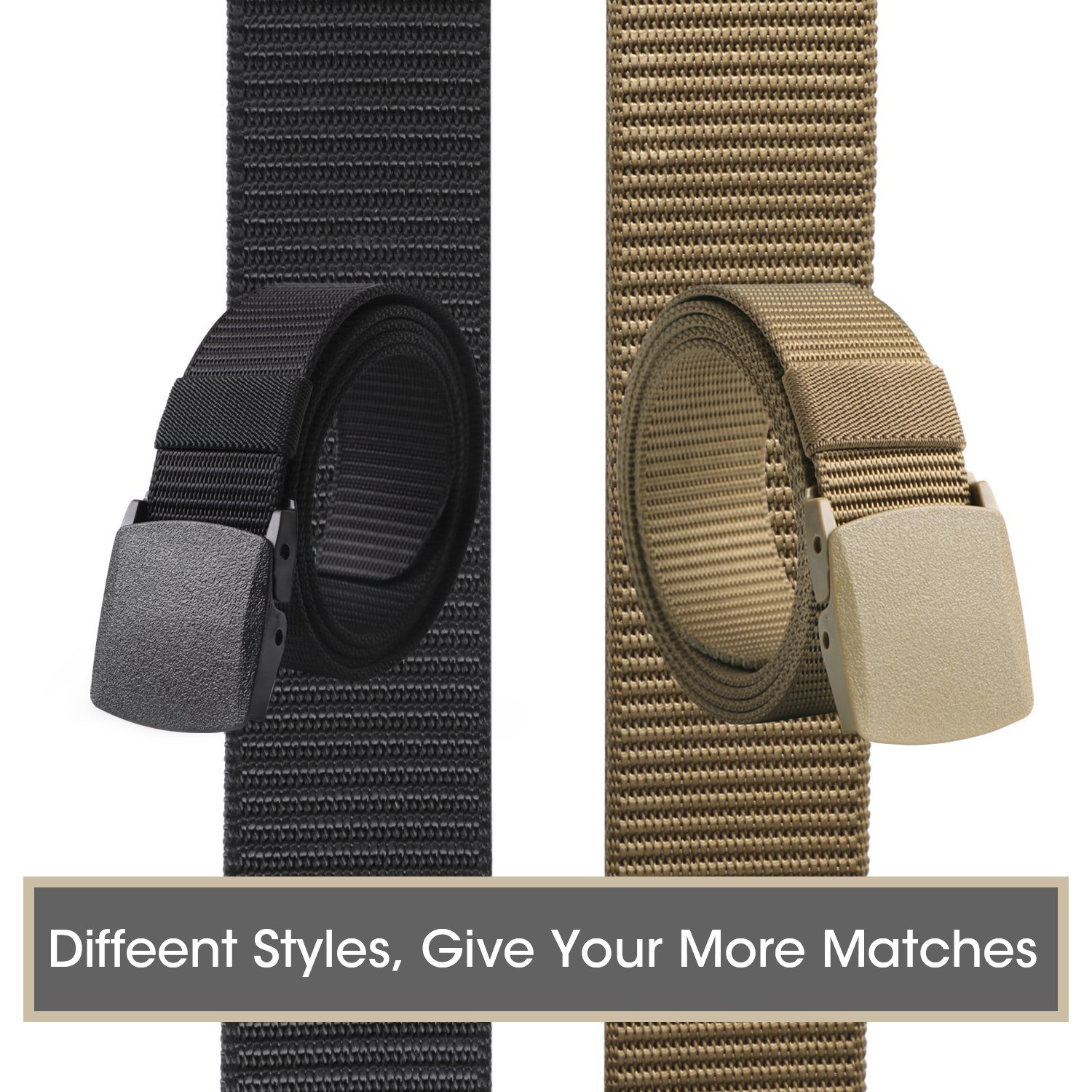 Nylon Military Tactical Belt 2 Pack Webbing Canvas Outdoor Web Belt With Plastic Buckle by JASGOOD (Image #2)