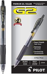 PILOT G2 Premium Refillable & Retractable Rolling Ball Gel Pens, Bold Point, Black Ink, Dozen Box (31256)