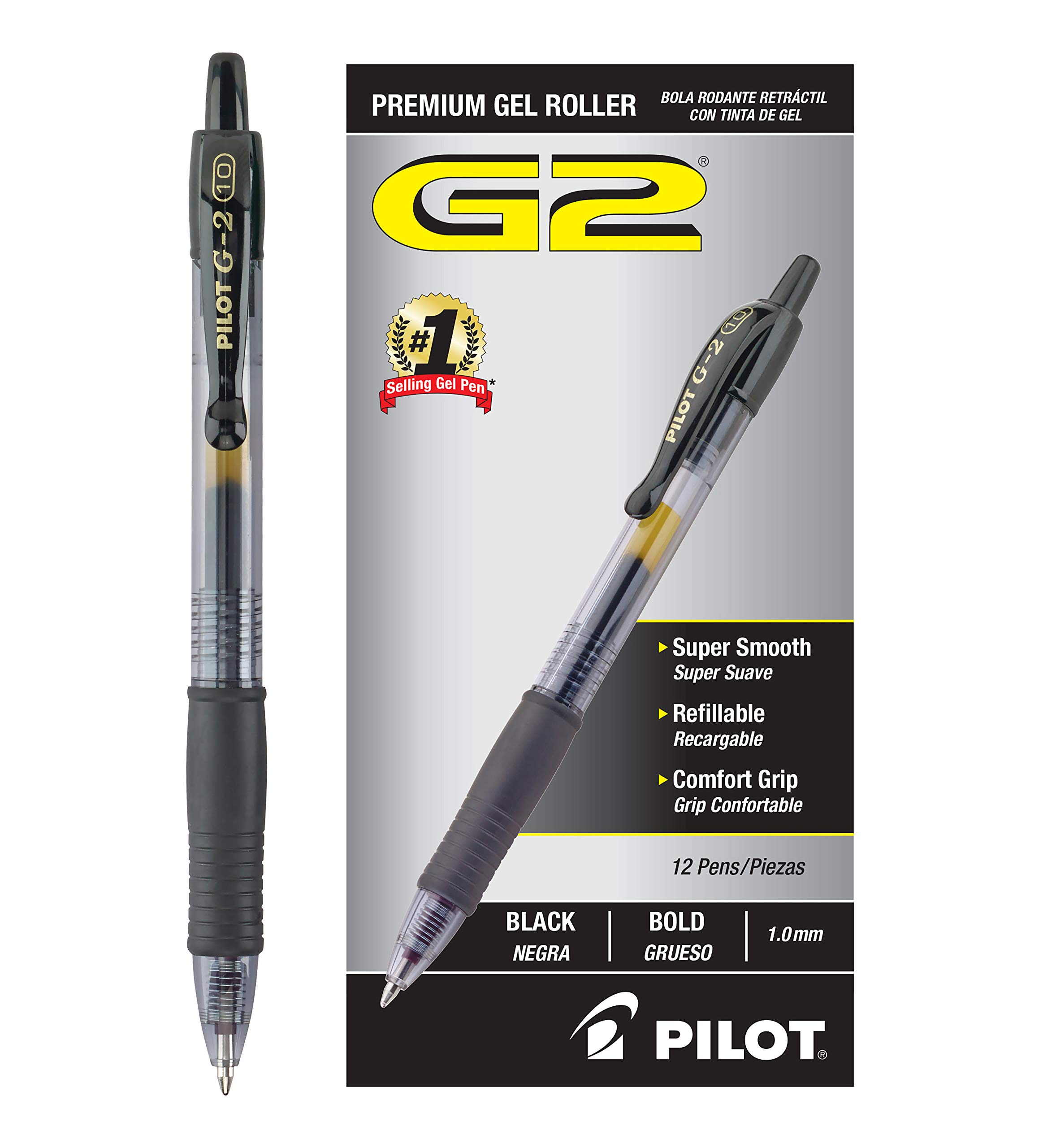 Pilot G2 Retractable Premium Gel Ink Roller Ball Pens Bold Pt (1.) Dozen Box Black; Retractable, Refillable & Premium Comfort Grip; Smooth Lines to the End of the Page, America's #1 Selling Pen Brand by Pilot