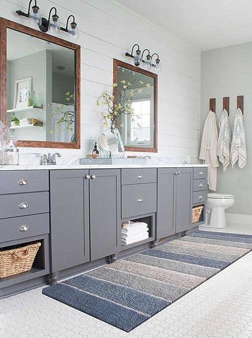 Amazon Com Chardin Home Cordural Stripe Bath Rug Runner With Skid Resistant Latex Spray Underneath Blues 24 W X 60 L Furniture Decor