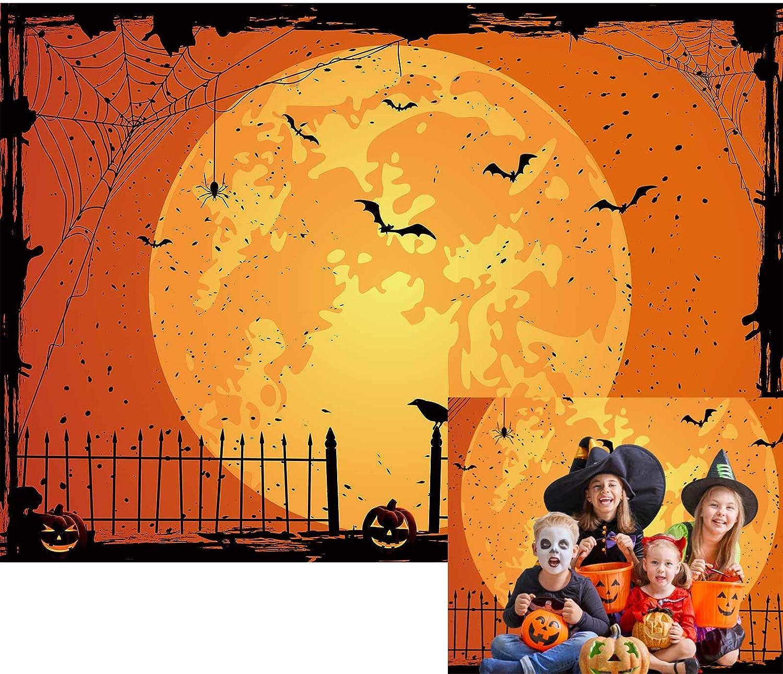 Allenjoy Happy Halloween Orange Moon Night Hintergrund Kamera