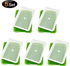 Seed Sprouter Tray, 5 Pack Seed Germination, Wheatgrass Cat Grass Microgreens Growing Kit, Great for Garden Home Office