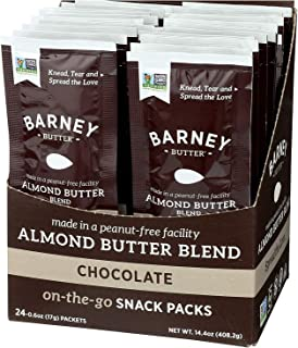 product image for BARNEY Almond Butter Snack Pack, Chocolate, No Stir, Non-GMO, Skin-Free, Paleo Friendly, KETO, 0.6 Ounce, 24 Count