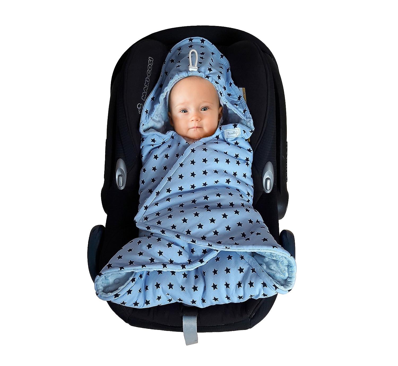 Baby Einschlagdecke Maxi cosi, Babyschale, Fußsack für Kinderwagen - für Winter aus Minky/Baumwolle SWADDYL (Blau)